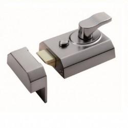 60mm Narrow Deadlocking Nightlatch  c/w 40mm Backset 3 Keys & Rim Cylinder - Satin Chrome