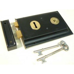 """5 1/2"""" x 3"""" Double Handed Rimlock - Black c/w REVERSED BOLT-Out/Opening"""