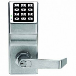 Trilogy Digital Lock c/w Lever Handles & Cylinder - Satin Chrome (WATERPROOF FINISH)Standard Size