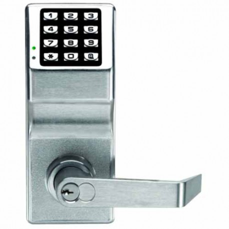 Trilogy Digital Lock c/w Lever Handles & Cylinder - Satin Chrome (WATERPROOF FINISH) Standard Size