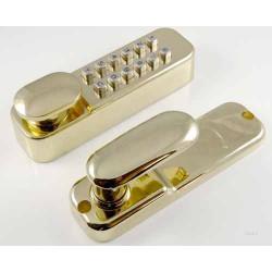 Digital Door Lock c/w Build-In Holdback - Polished Brass Finish Easi Code Change