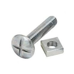 M6 x 80mm Roofing Bolts c/w Nut Zinc Plated