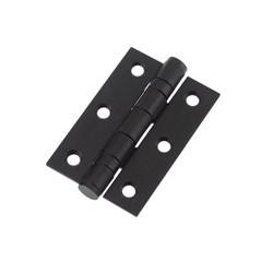 Ball Bearing Butt Hinge 75mm x 50mm x 2mm c/w Matching Screws - Powder  Coated Black