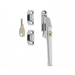 Modern Locking Casement Fastener c/w Wedge Plate - Polished Chrome