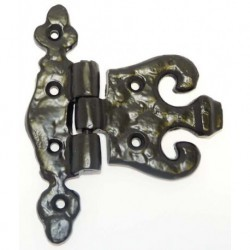 Trent 100mm x 75mm Fleur-De-Lys Unequal Hinge - Black Antique