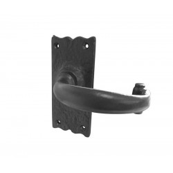 Trent Plain Lever Handle On Short - Latch Backplate - Black Antique