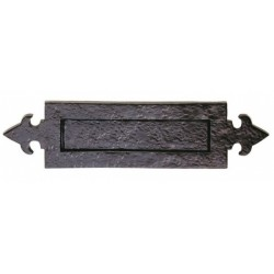Trent 250mm x 75mm Fleur-De-Lys Letter Plate - Black Antique