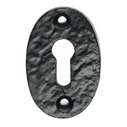 Oval Shaped Key Escutcheon - Black  - Antique