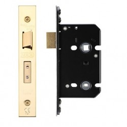 63mm Mortice Bathroom Lock c/w 44mm Backset & 57mm Centres Polished Brass