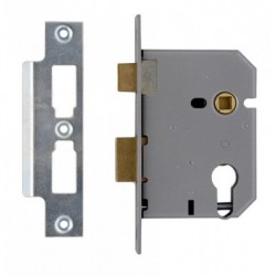 Union 76mm Euro Profile Mortice Sashlock Case c/w 57mm Backset & 48mm Centres Satin Chrome