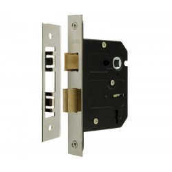 63mm 3 Lever Mortice Sashlock c/w 44mm Backset & 57mm Centres Nickel Plated