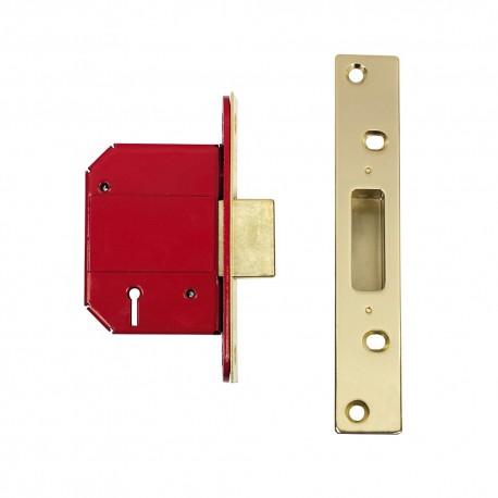 ERA 63mm High Security Fortress Mortice Deadlock c/w 44mm Backset Electro Brass
