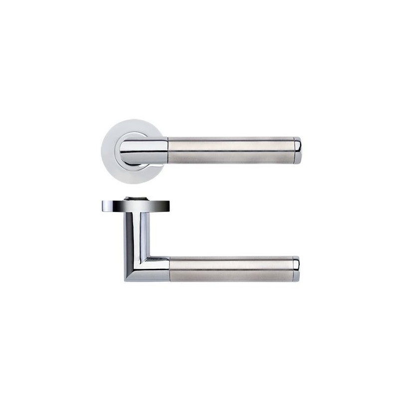 Luna Olympus Lever on Round Rose Door Handle Polished Chome ...