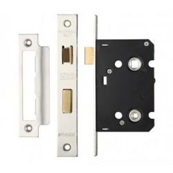 63mm Mortice Bathroom Lock c/w 44mm Backset & 57mm Centres Polished Stainless Steel