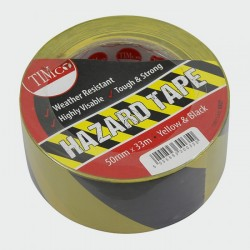 PVC Hazard Tape - 50 x 33Mtr - Black/Yellow