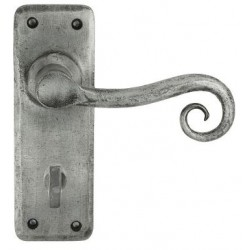 Chester Hand Forged Lever Bathroom Door Handle Pewter