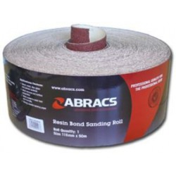 115mm Aluminium Oxide 80 Grit Sand Paper 50 Metre Roll c/w E Weight Backing & Resin Coated