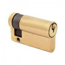 5 Pin 45mm Anti Pick & Drill Europrofile Single Cylinder Keyed To Differ - Polished Brass