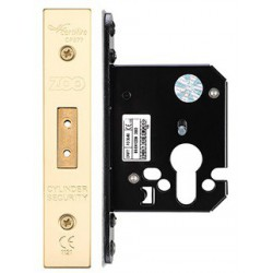 64mm Euro Profile Mortice Deadlock  Case Only c/w 48mm Backset - Polished Brass