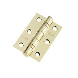 Ball Bearing Butt Hinge 75mm x 50mm x 2mm c/w Matching Screws - Polished Brass