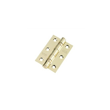 Ball Bearing Butt Hinge 75mm x 50mm x 2mm c/w Matching Screws Polished Brass
