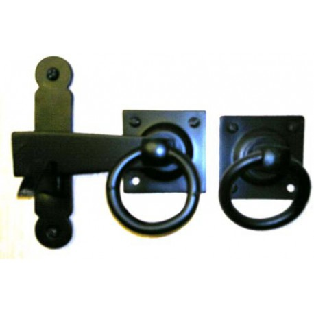 100mm Ring Handle Gate Latch Set Black