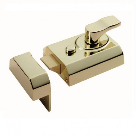 60mm Narrow Deadlocking Nightlatch  c/w 40mm Backset 3 Keys & Rim Cylinder - Polished Brass