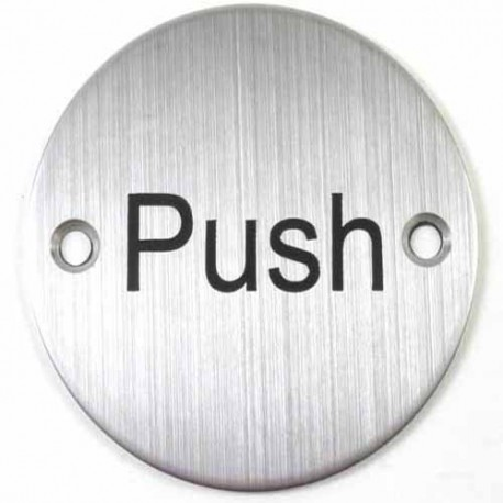 76mm PUSH Sign Satin Stainless Steel