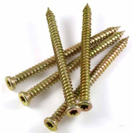7.5mm x 80mm Concrete Screw c/w 1 Driver Bit Per Box - Yellow Passivated