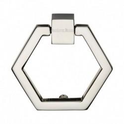 Heritage Brass Cabinet Drop Pull Hexagon Design 51mm Polished Nickel finish