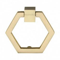 Heritage Brass Cabinet Drop Pull Hexagon Design 51mm Satin Brass finish