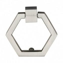 Heritage Brass Cabinet Drop Pull Hexagon Design 51mm Satin Nickel finish