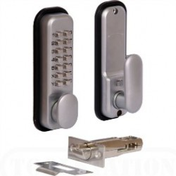 Jedo Digital Door Lock c/w Built-In Holdback & Easi Code Change Satin Chrome