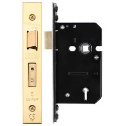 64mm 5 Lever British Standard (BS:3621) Sashlock Keyed Alike To Differ 25 c/w 2 Keys - P.B. Finish