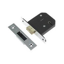 Union 63mm 3 Lever Mortice Deadlock c/w 44mm Backset Polished Chrome