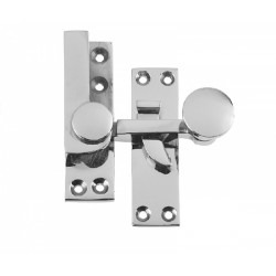 Victorian Sash Window Non Locking- 60mm Quadrant Arm Fastener -Polished Chrome