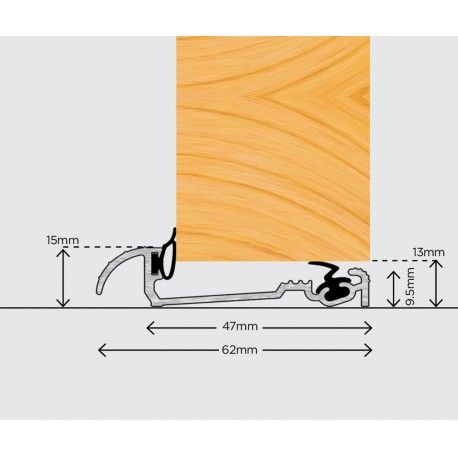 Exitex Macclex 15/2 Inward Open Door Sill Threshold 1220mm - Silver