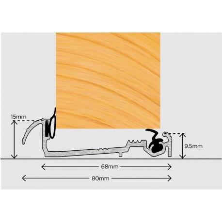 Exitex Macclex 15/68 Inward Open Door Sill Threshold 1830mm - Silver