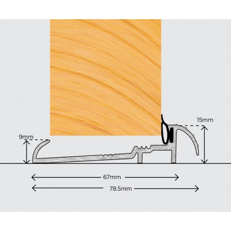 Exitex OUM6 Outward Open Door Sill Threshold 1829mm - Silver