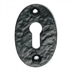 Oval Shaped Key Escutcheon - Black  - Antique