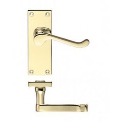Victorian Scroll Lever Latch Door Handle Polished Brass
