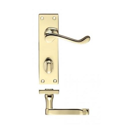 Victorian Scroll Lever Bathroom Door Handle Polished Brass
