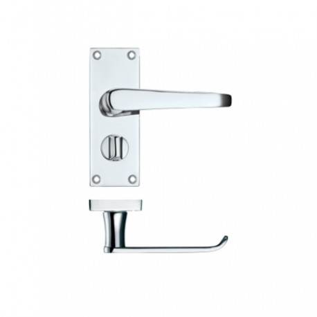 Victorian Straight Lever Privacy Door Handle Polished Chrome