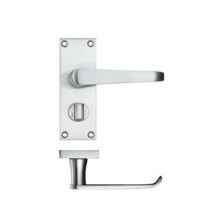 Victorian Straight Lever Privacy Door Handle Satin Chrome