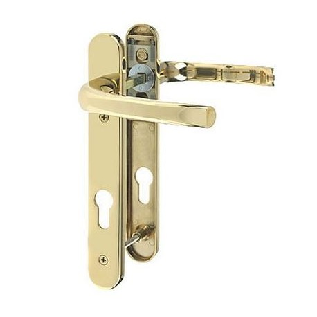 Pro Linea Sprung Multipoint Lock Door Handle C/w 92mm Centres Polished Brass
