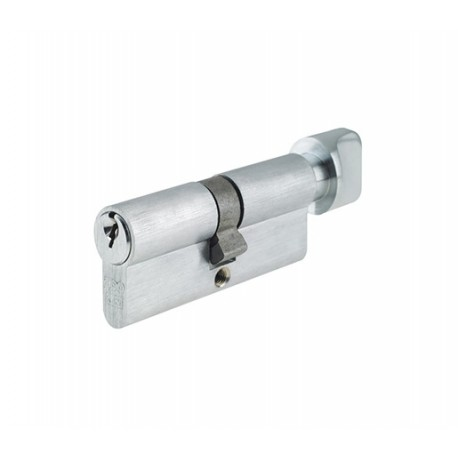 5 Pin 35mm x 35mm Euro Profile Cylinder & Turn Satin Chrome