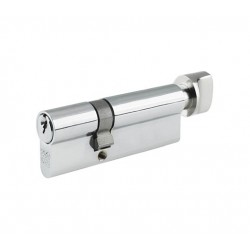 5 Pin 35mm x 35mm Anti Pick & Drill Europrofile Cylinder & Turn Keyed To Differ - Polished Chrome