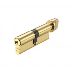 5 Pin 30mm x 50mm Anti Pick & Drill Europrofile Cylinder & Turn Keyed To Differ - Polished Brass