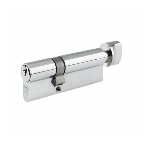 5 Pin 50mmx 50mm Anti Pick & Drill  - Europrofile Cylinder & Turn Keyed To Differ - Polished Chrome