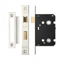 63mm Mortice Bathroom Lock c/w 44mm Backset & 57mm Centres Satin Stainless Steel